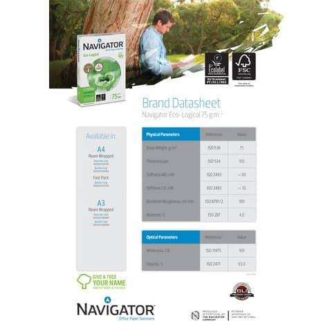Carta per fotocopie A4 Navigator Ecological 75 g/m² Risma da 500 fogli - NEC0750088 Immagine del prodotto Produktdatenblatt XL