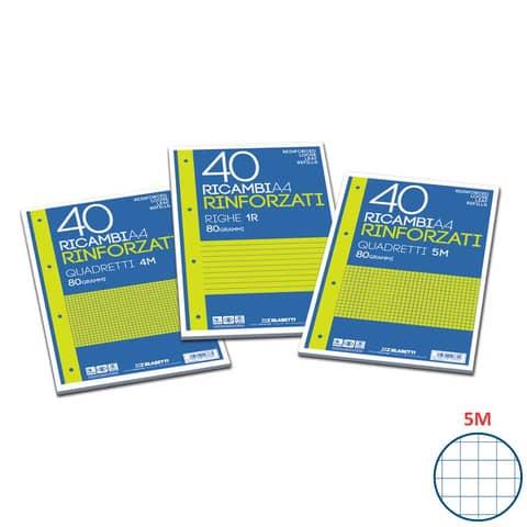 Ricambi rinforzati Blasetti in carta bianca usomano con 4 fori rinforzati in plastica 80 g/m² A4 5M - 2334