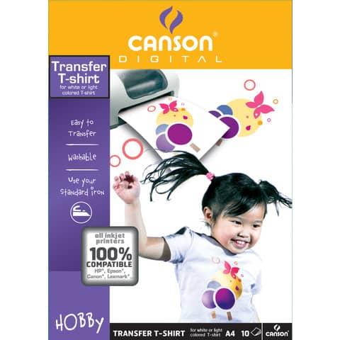 Carta patinata CANSON T-Shirt transfer A4 finitura opaca 140 g/m² bianco conf.10 - C204567480