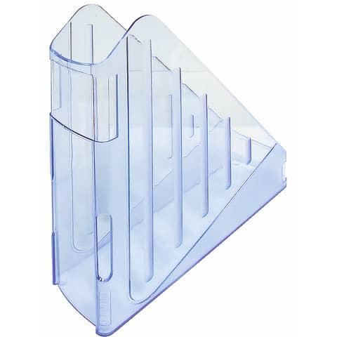 Portariviste ARDA Classic polistirolo antiurto azzurro trasparente 7,5x27x29,5 cm - TR4118BL