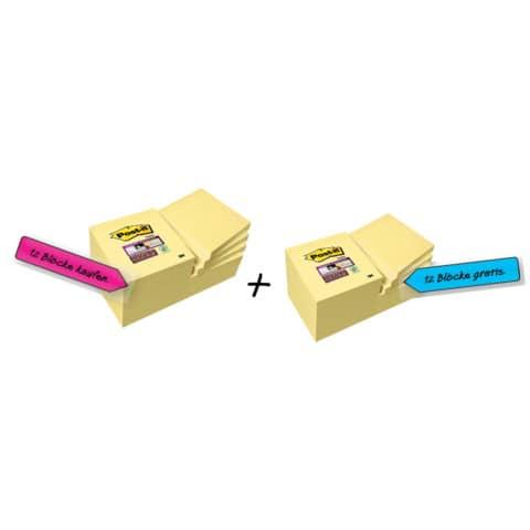 Foglietti riposizionabili Post-it® 654 Canary Yellow 76x76 mm - Value Pack 12 pad + 12 pad OMAGGIO - 7100172240 Immagine del prodotto Einzelbild 2 XL