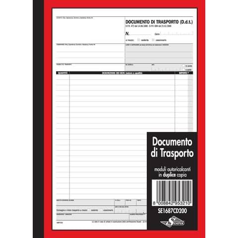 Documento di trasporto Semper blocco di 50/50 copie autoricalcanti 29,7x21,5 cm SE1687CD200