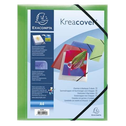 Cartelle 3 lembi Kreacover® 24x32 cm ppl opaco 5 colori assortiti 55189E