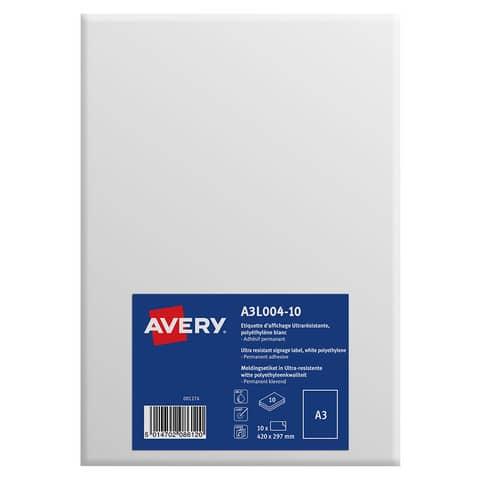 Etichette permanenti in polietilene Avery A3 bianco opaco 1 et./foglio Conf. 10 fogli - A3L004-10