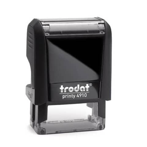 Timbro autoinchiostrante personalizzabile a 3 righe TRODAT PRINTY 4910 in plastica 26x9 mm nero - 47475