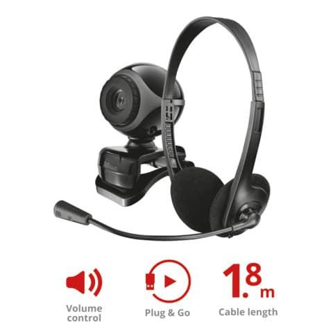 Kit webcam e cuffie con microfono - cavo da 1,8 m Trust Exis Chatpack nero 17028