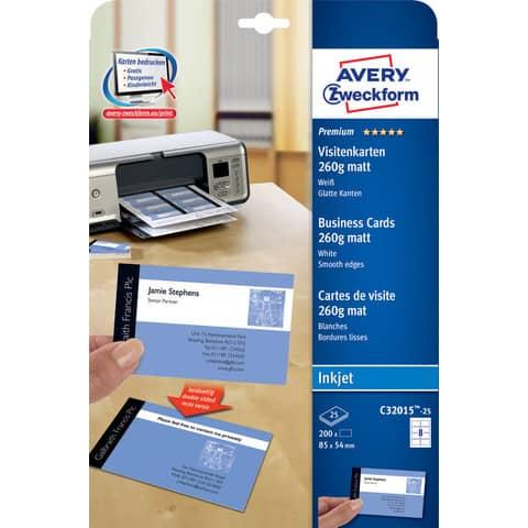 Biglietti da visita personalizzabili AVERY 85 x 54mm 25 fogli - C32015-25