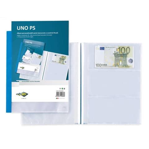 Portalistini Sei Rota Uno PS - 13 buste 21x29,7 cm per banconote o scontrini fiscali blu -  65446707