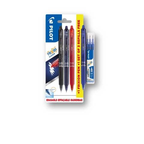 Multipack Pilot Frixion 3 penne a sfera (nero/rosso/blu) + 1 Frixion Clicker blu 0,7 mm + 3 refill Frixion blu - 006807 Immagine del prodotto