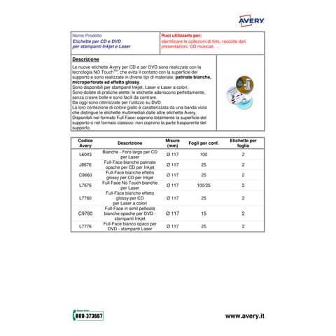 Etichette bianche lucide Avery Ø 60 mm - 12 et./foglio - stampanti laser - conf. 25 fogli - L7790-25 Immagine del prodotto Produktdatenblatt XL