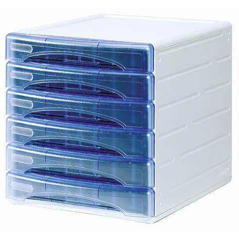 Cassettiera 6 cassetti ARDA OLIVIA polistirolo antiurto e atossico grigio/azzurro trasparente - TR13G6PBL
