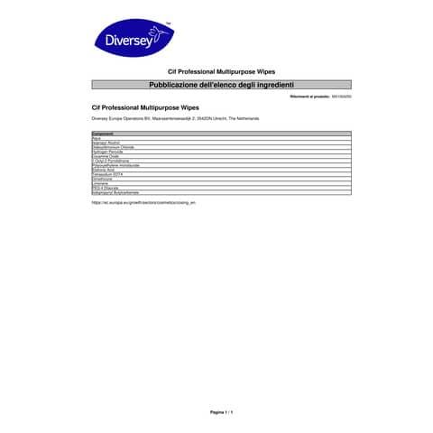 Salviette igienizzanti Cif bianco  conf. 100 pezzi - 101102238 Immagine del prodotto Sicherheitsdatenblatt 3 XL