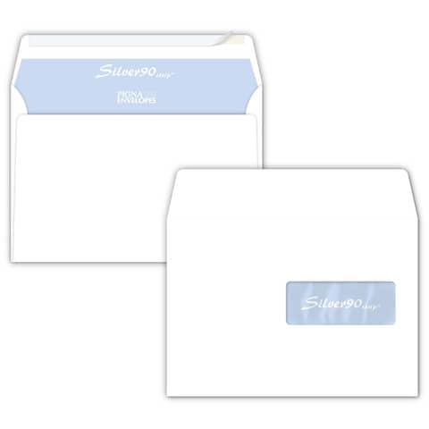 Buste con finestra Pigna Envelopes Silver90 90 g/m² 162x229 mm bianco conf. 500 - 0207859