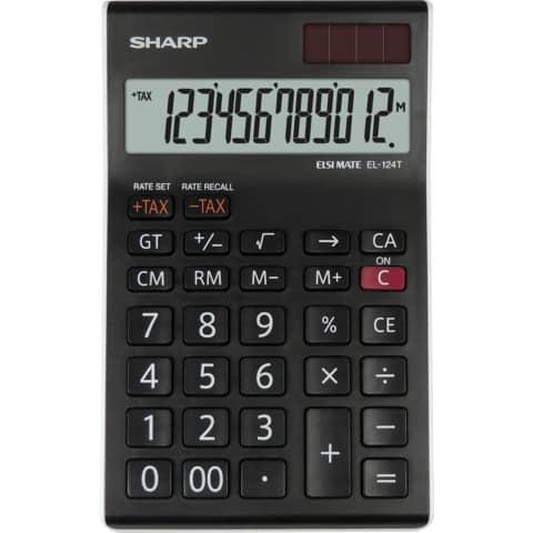 Tischrechner 12-stell. schwarz/weiß SHARP SH-EL124TWH Produktbild