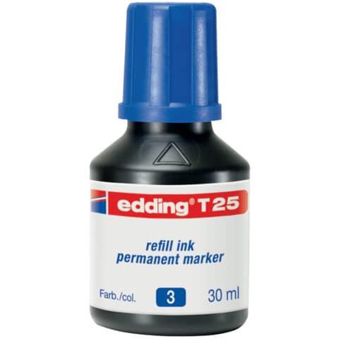 Inchiostro permanente per ricarica edding T 25 blu - 30 ml 4-T25003