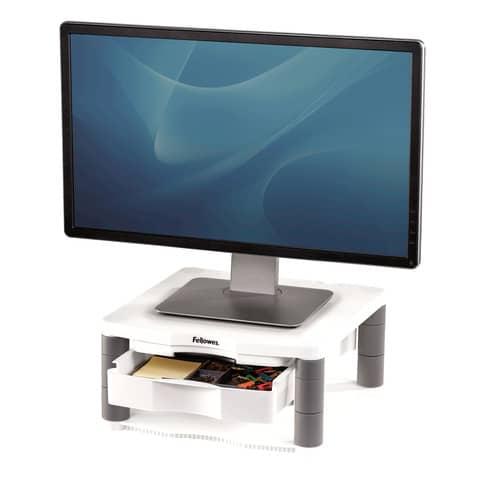 Supporto FELLOWES Premium Plus per monitor plastica riciclata grigio 34,3x33,3x6,4-16,5 cm - 91713