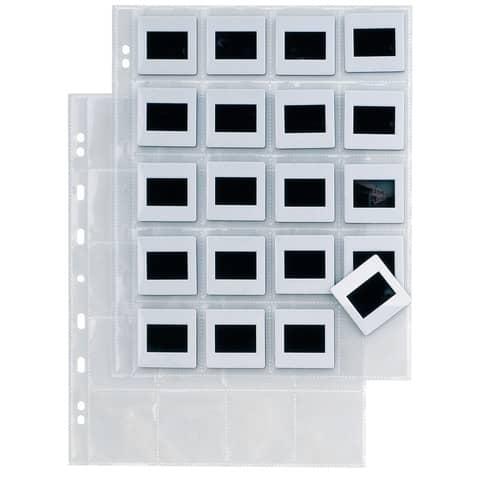 Buste a foratura universale Sei Rota Atla F per diapositive 20 spazi 5,5x5,5 cm trasparente  conf.10 buste 662514