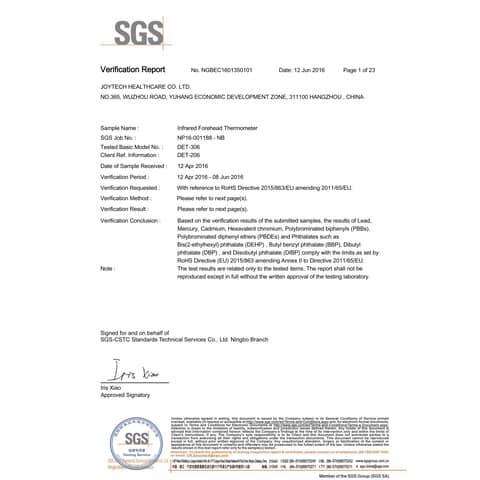 Termometro professionale ad infrarossi distanza di misura 2-3 cm - Certificazione CE - bianco - DET306 Immagine del prodotto Sicherheitsdatenblatt XL