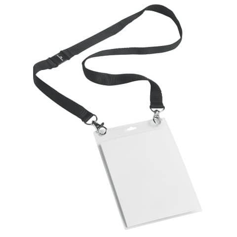 Portanomi DURABLE con cordoncino 20mm per eventi nero/trasparente inserti f.to A6  conf. 10 - 852501