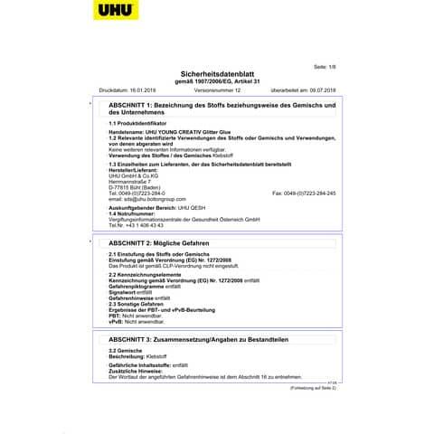 Colla Glitter Uhu 20 ml  Conf. 24 pezzi - D1553 Immagine del prodotto Sicherheitsdatenblatt XL