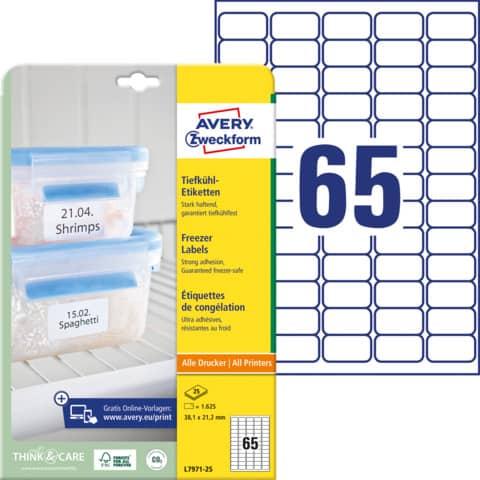 Etichette permanenti per freezer Avery 38,1x21,1 mm bianco Laser 65 et./foglio Conf. 25 fogli - L7971-25