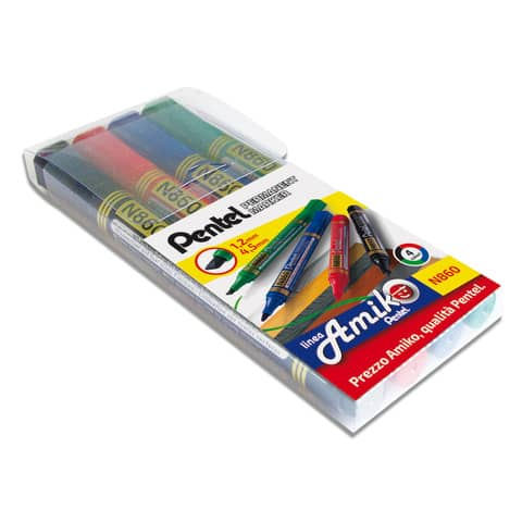 Marcatore permanente Pentel N860 punta scalpello 4,5 mm assortiti 4 pezzi - 0100862