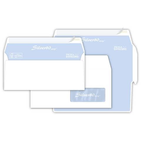 Buste con finestra Pigna Envelopes Silver80 80 g/m² 110x230 mm bianco conf. 500 - 0097584