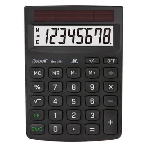 Tischrechner 8-stellig schwarz REBELL RE-ECO310BX Produktbild Einzelbild 1 XL