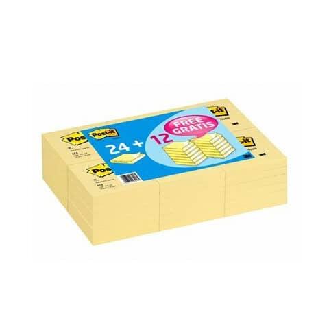 Foglietti riposizionabili Post-it® 654 Super Sticky Canary Yellow 76x76 mm - Value Pack 24+12 pad OMAGGIO 7100172239 Immagine del prodotto