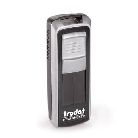 12 testi commerciali Piastra di testo max 48 x 4 mm Colore inchiostro: nero Trodat 5117 Professional Datario Polinome autoinchiostrante