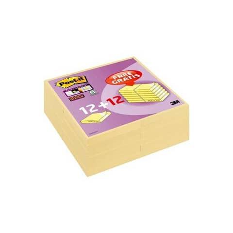 Foglietti riposizionabili Post-it® 654 Canary Yellow 76x76 mm - Value Pack 12 pad + 12 pad OMAGGIO - 7100172240 Immagine del prodotto
