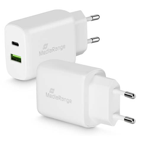 Presa caricatore Media Range 3.1A Dual USB per smartphone e tablet bianco MRMA104-02