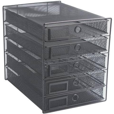 Cassettiera 5 cassetti Q-Connect 35x27x31 cm nero KF00835