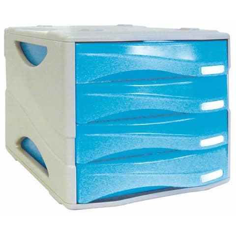 Cassettiera 4 cassetti ARDA Smile polistirolo antiurto e materiale infrangibile grigio/azzurro - TR15P4PBL
