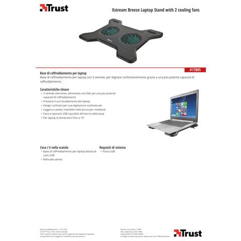 Supporto per laptop Trust Xstream Breeze con 2 ventole nero 17805 Immagine del prodotto Produktdatenblatt XL