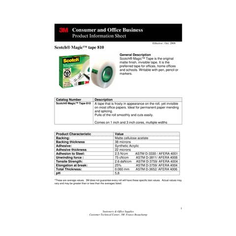 Nastro adesivo Scotch® Magic™ 810 19 mm x 33 m trasparente opaco 810-1933 Immagine del prodotto Produktdatenblatt 1 XL
