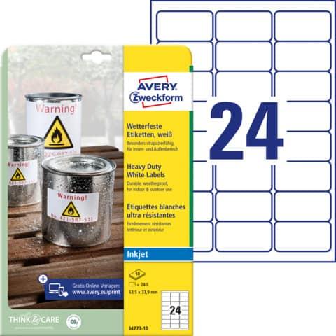 Etichette permanenti in poliestere Avery 63,5x33,9 mm bianco Inkjet 24 et./foglio Conf. 10 fogli - J4773-10