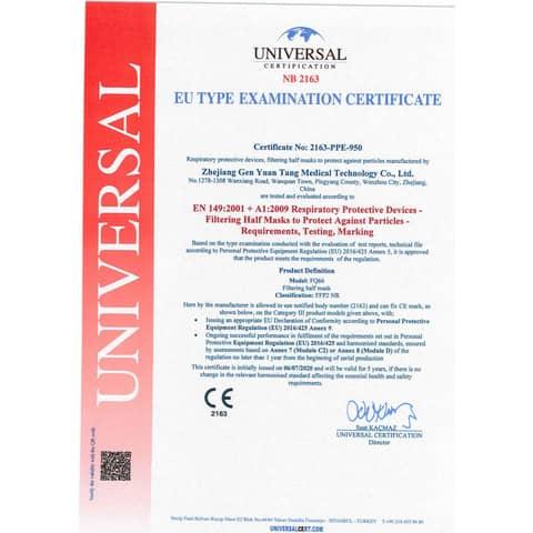 Mascherine monouso FFP2 - Certificazione CE 2163 in TNT bianco - scatola da 20 pezzi, singolarmente imbustati Immagine del prodotto Produktdatenblatt XL