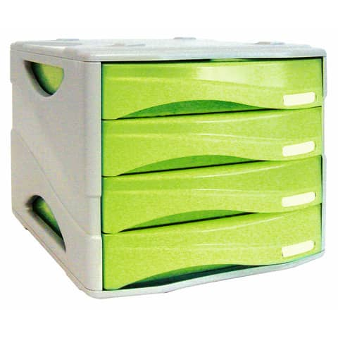 Cassettiera 4 cassetti ARDA Smile polistirolo antiurto e materiale infrangibile grigio/verde - TR15P4PV