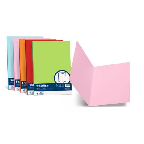 Cartellina semplice FAVINI FOLDER S cartoncino Simplex Luce&Acqua 200 g/m² 25x34cm mix 5 colori  conf.50 - A50X664