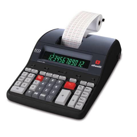 Calcolatrice scrivente da tavolo 3,6 linee/secondo OLIVETTI Logos 902 display LCD a 12 cifre nero - B5895 000 Immagine del prodotto