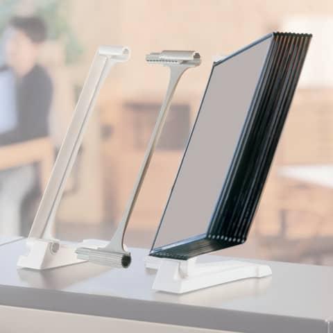 Kit leggìo Q-Connect Quickfind: modulo di estensione con base supporto grigio chiaro + 10 pannelli A4 - KF06006