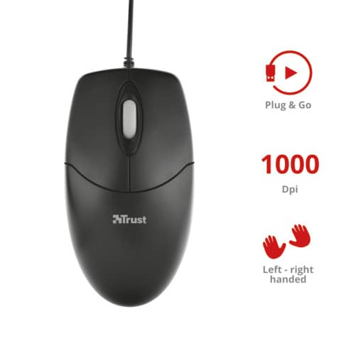 Mouse ottico a 3 tasti Trust Optical nero 16591