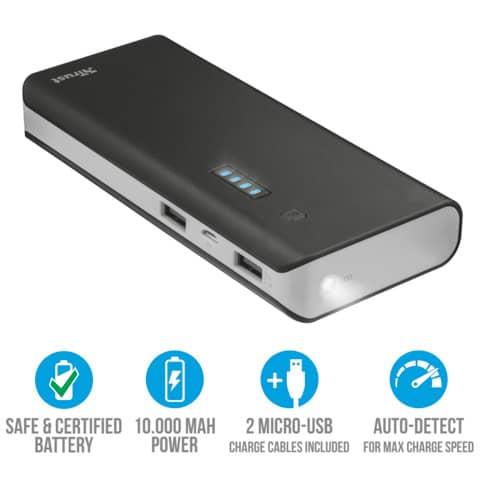 Caricabatterie portatile Powerbank 10000 Trust Primo nero 21149