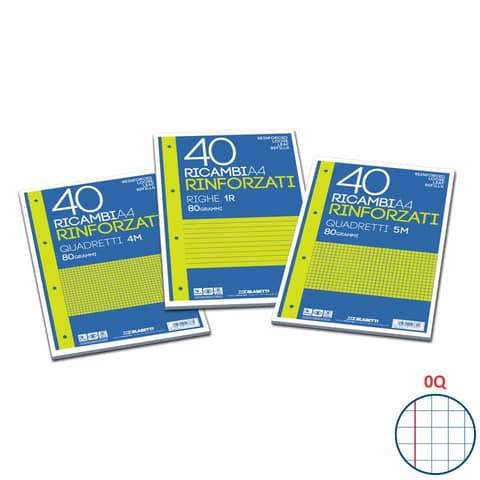 Ricambi rinforzati Blasetti in carta bianca usomano con 4 fori rinforzati in plastica 80 g/m² A4 Q  conf.40 - 2338