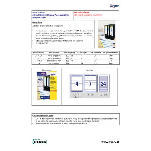 Etichette bianche per raccoglitori Avery Ultragrip™ 61x192 mm - 4 et/foglio - stampanti laser - Conf 25 fogli L4761-25 Immagine del prodotto Produktdatenblatt XL