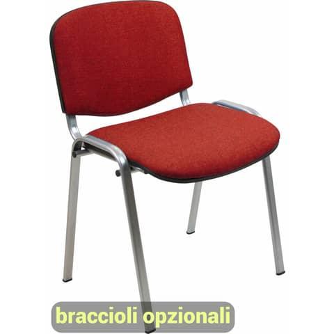 Sedia visitatore 4 gambe Unisit Dado D5G acciaio grigio - rivestimento ignifugo rosso - Conf. 2 pezzi - D5G/2/IR