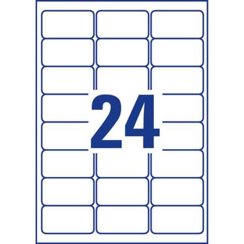 Etichette permanenti in poliestere Avery 63,5x33,9 mm bianco Laser 24 et./foglio Conf. 100 fogli - L4773-100