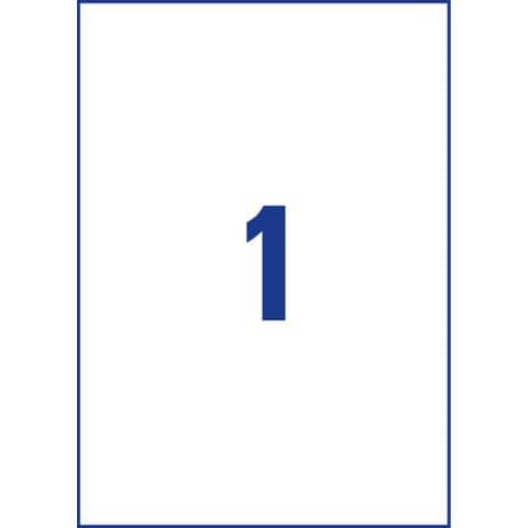 Etichette permanenti in poliestere Avery A4 - 210x297 mm bianco Laser 1 et./foglio Conf. 100 fogli - L4775-100