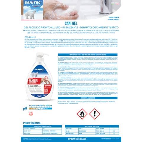 Gel igienizzante mani a base alcolica Sanitec Sani Gel Alcol 70% - trasparente - flacone 600 ml, con dosatore - 1033 Immagine del prodotto Produktdatenblatt XL